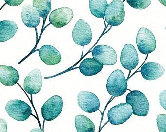 Postcard Eucalyptus, Illustrated Postcard, Watercolor