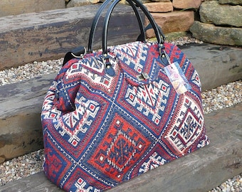 Weekender Bag, Carpet Bag, Mary Poppins Bag, Aztec Bag, Chenille Bag, Overnight bags, Bags and Purses, Luggage and Travel