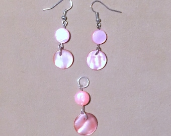 Pink Shell Jewelry Set, Salmon Pink Shell Disc Double Dangle Earrings w/Pendant, Pink Mother of Pearl Silver Pendant Set Handmade Jewelry