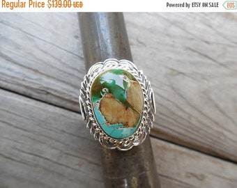 ON SALE Boulder turquoise ring handmade and signed in sterling silver by a American Indian