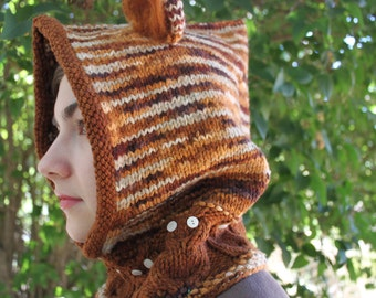 KNITTING PATTERN, Owl Hood, With Ears, One Size Fits All, Knit, Hoodie, Aminal, Owl, Cabled