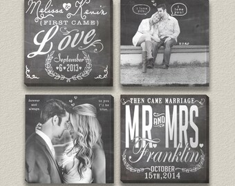 First Came Love Engagement and Wedding Photo Chalkboard Art