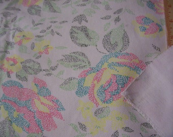 """Just REDUCED - Vintage White cotton Twill fabric with multicolor floral dotted print 50"""" x 50"""""""