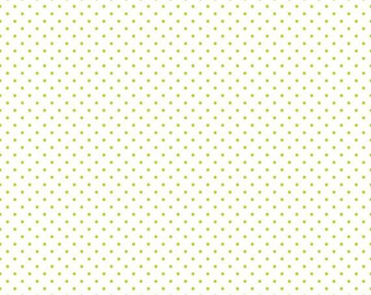 Riley Blake - Swiss Dot in LIME green on white from Swiss Dot Collection - C660R-32 - cotton sewing quilting fabric - BTY