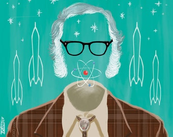 Isaac Asimov (signed prints) © Iván García