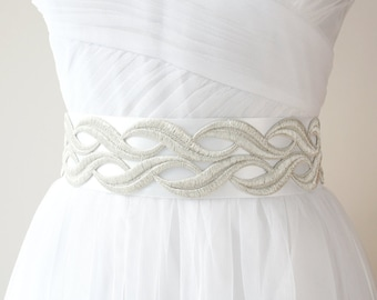 Silver Lace Sash, Wave Sash, Wedding Sash, Silver Bridal Belt