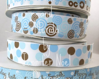 US Designer Ribbon - Boys Ribbon Blue Brown Snips and Snails Collection - Grosgrain Ribbon - Bow Making Supplies - Dogs babies