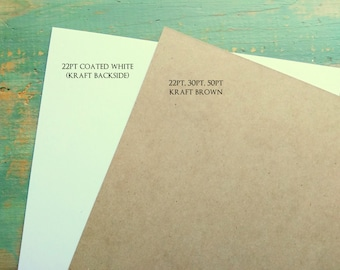 "25 chipboard sheets: 8.5 x 11"" (216 x 279 mm) white or kraft brown chipboard, recycled, 22 pt (.022"") or 30 pt (.030"")"