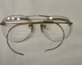 "Antique gold wire frame glasses 4"" bifocals"