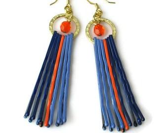 Upcycled Repurposed Orange Blue Earrings, Bobby Pin Jewelry, Broncos, Auburn University, Boise State, Mets, Dangle Earrings,  SALE