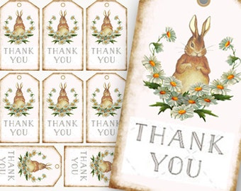 Bunny Thank You Tags, French Bunny Tags, Brown Bunny Tags, Easter Rabbit Tags, baby shower tag, Digital craft supplies, printable gift tags