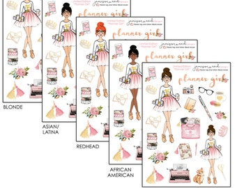 Planner Girl Stickers  Choice of Set or Separates | Choice of skintone/haircolor
