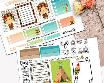 Boho Native Theme Planner Weekly Sticker SMALL Kit, Passion Planner Sticker, Weekly Set, Sticker, Printed, Cut, Bohemian, Gypsy, Soul, Tepee