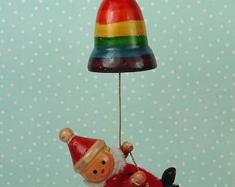 Vintage elf rainbow bell Christmas ornament 1960s red wooden