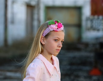 Flower girl headband, Pink chiffon headband, couture baby headband, Shabby chic headband, Ivory chiffon rhinestone headband