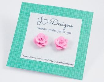 Rose Studs, Rose Earrings, Rose Jewelry, Stud Earrings, Custom Rose Earrings, Polymer Clay Studs, Clay Rose Earrings, Simple Studs