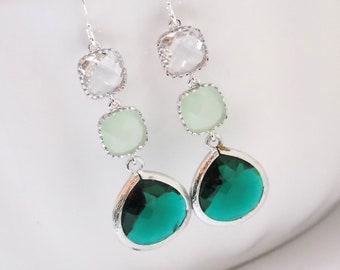 Green Earrings, Emerald Earrings, Mint Earrings, Clear, Silver Earrings, Glass, Bridesmaid Jewelry, Bridesmaid Earrings, Bridesmaid Gifts