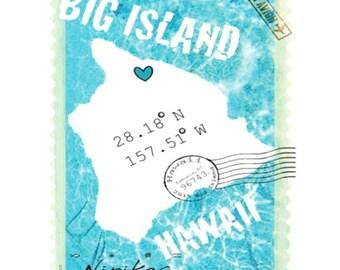 Big Island, Latitude Map - V-neck T-shirt – Aqua, blue, Hawaii map, – exclusive – handmade in Hawaii