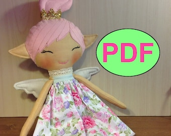 Fairy doll pattern cloth soft rag doll pattern PDF doll tutorial doll sewing pattern doll sewing tutorial doll making pattern DIY doll elf
