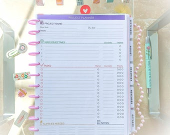 PROJECT PLANNER Big Happy Planner Letter size Craft Planner Projects Goals tracker and organizer To Do List planner pages Instant Download