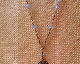 Light Blue Flower Cameo and Swarovski Crystals on Copper