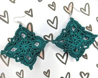 Dark Teal, Earrings, Crochet Earrings, Feather Weight Earrings, Lightweight Earrings, Wedding Earrings