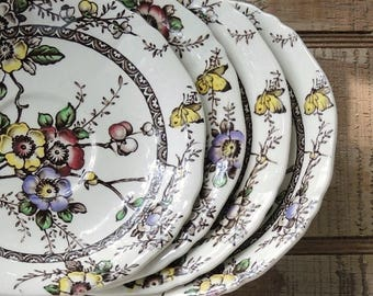 Vintage Alfred Meakin Medway Decor Saucers Set of 4 Brown Multicolor Transferware Plates for Wedding Replacement China