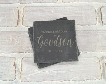 Custom Slate Coasters - Custom Engraved Coasters - Slate Coasters - Wedding Favors - Custom Coaster Set - Wedding Shower - Housewarming Gift