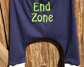 Seahawks baby harem pants, cuffed, End Zone, machine embroidered, Seahawks baby pants,