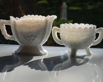 Vintage Mismatched Milk Glass Sugar Bowl and Creamer, 1950's & 1960's Milk Glass