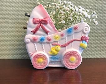 Vintage Music box Baby planter, ceramic Baby buggy planter, baby nursery decor, shower gift, ceramic planter, Baby shower decorations, gift