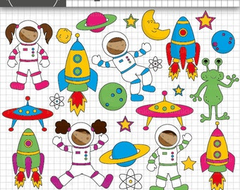 Space Clip Art, Astronaut Clipart, African American Clipart, CU Digital Images, Rockets, Space Ships, Planets, Alien, Moon and Stars