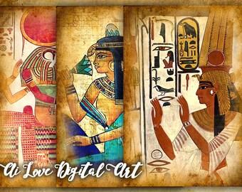 Digital collage Egypt, printable cards download, Egyptian Art, digital collage sheet, Egyptian printables, images for download