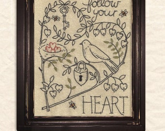 Follow Your Heart Embroidery Pattern by Kathy Schmitz