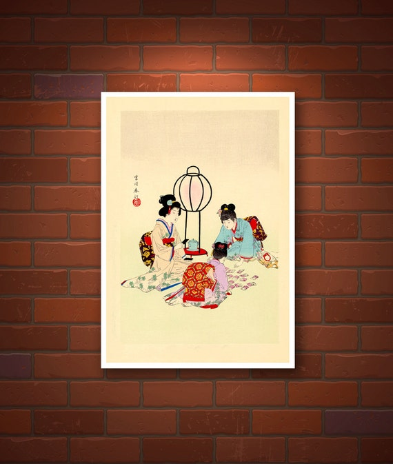 Japanese art Playing Karuta Cards Shuntei Miyagawa FINE ART