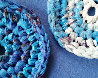 Two Plarn Dish Scrubbies, blue and purple, recycled plastic bags, dish scrubby pot scrubber