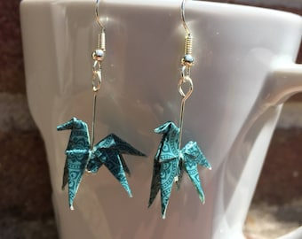 Origami paper horses blue/green tones to Motifsidee Gifts Christmas earrings