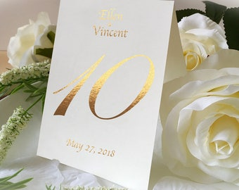 Custom Name And Date Of Wedding Table Number Signs, Golden Print Numbers Double Sided Table Cards, Tented Table Decor