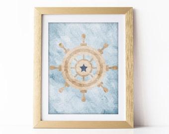 Nautical Nursery Art Print Blue Nursery Wall Art Nautical Theme Baby Room Nautical Decor Nautical Digital Download 8x10