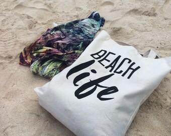 SALE *Was 20* Beach Life Tote Bag, Beach Bag, Tote, Made in Canada, London Ontario, Screen Printed