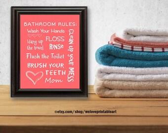 Kids Bathroom Art Decor Bathroom Artwork Printable Art Print Instant Download Bathroom Wall Quote Sign Coral Wash Your Hands