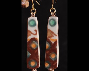 Polish Pottery Jewelry Earrings Pale Teal Circles Sienna Brown