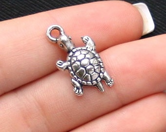 6 Turtle Charms Antique  Silver Tone - SC1020