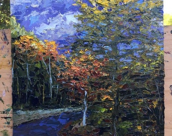 Sunrise at Port Crescent, Oil Knife Painting