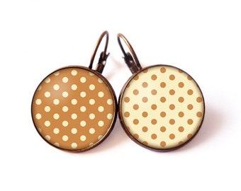 Earrings cabochon • polka • beige camel vintage retro glass