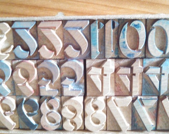 Letter Press Blocks Numbers 0-9