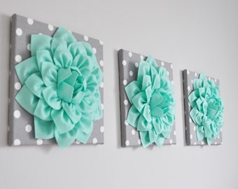 Mint Green Home Decor, Gray Polka Dot Green Nursery Wall Art, Mint Floral  Decor