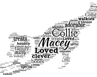 Personalised Word Art - A Border Collie Dog design - A4 Print or Digital File