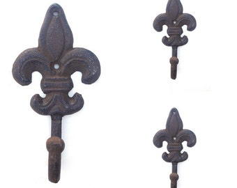 3 Fleur De Lis Wall Hooks Towel Hook Key Hook Victorian Home Decor Rustic Iron