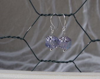 Alexandrite Czech cathedral glass bead with silver finish drop earrings